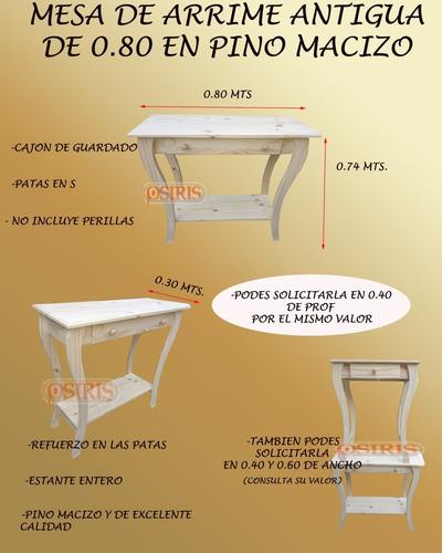 mesa de arrime antigua pino macizo 80 x 40/30pf escritorio