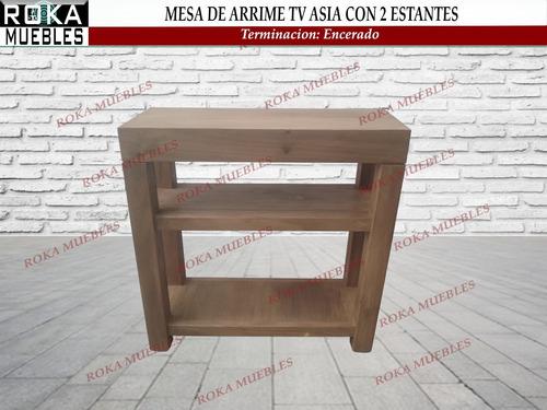 mesa de arrime asia 80x30x80 recibidor tv 2 estante encerado