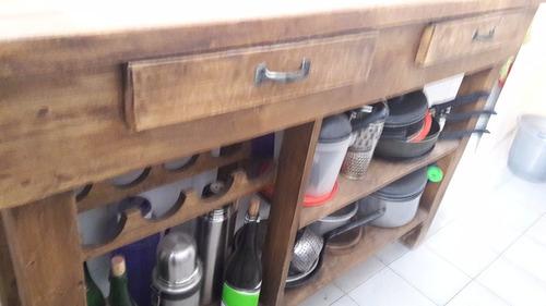 mesa de arrime en madera álamo macizo para reciclar