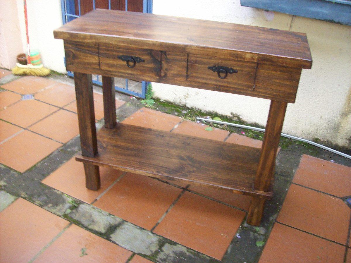 Mesa de arrime madera maciza rustica en mercado libre - Mesa de madera maciza ...