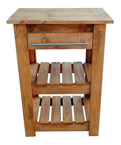 mesa de arrime recibidor pino rustica madera cocina estantes