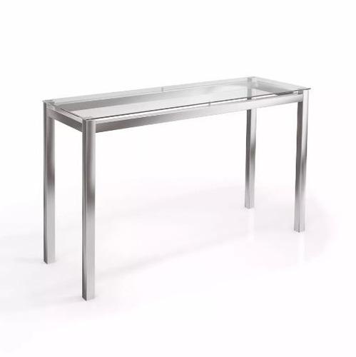 mesa de arrime vidrio comedor patas cromo recibidor envio
