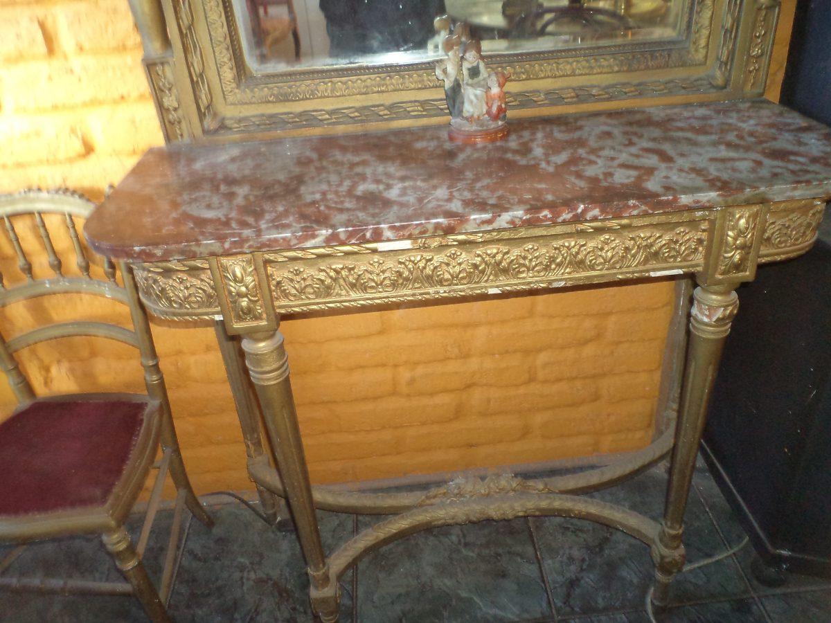 Mesa de arrimo con espejo biselado antiguo for Espejos para mesa