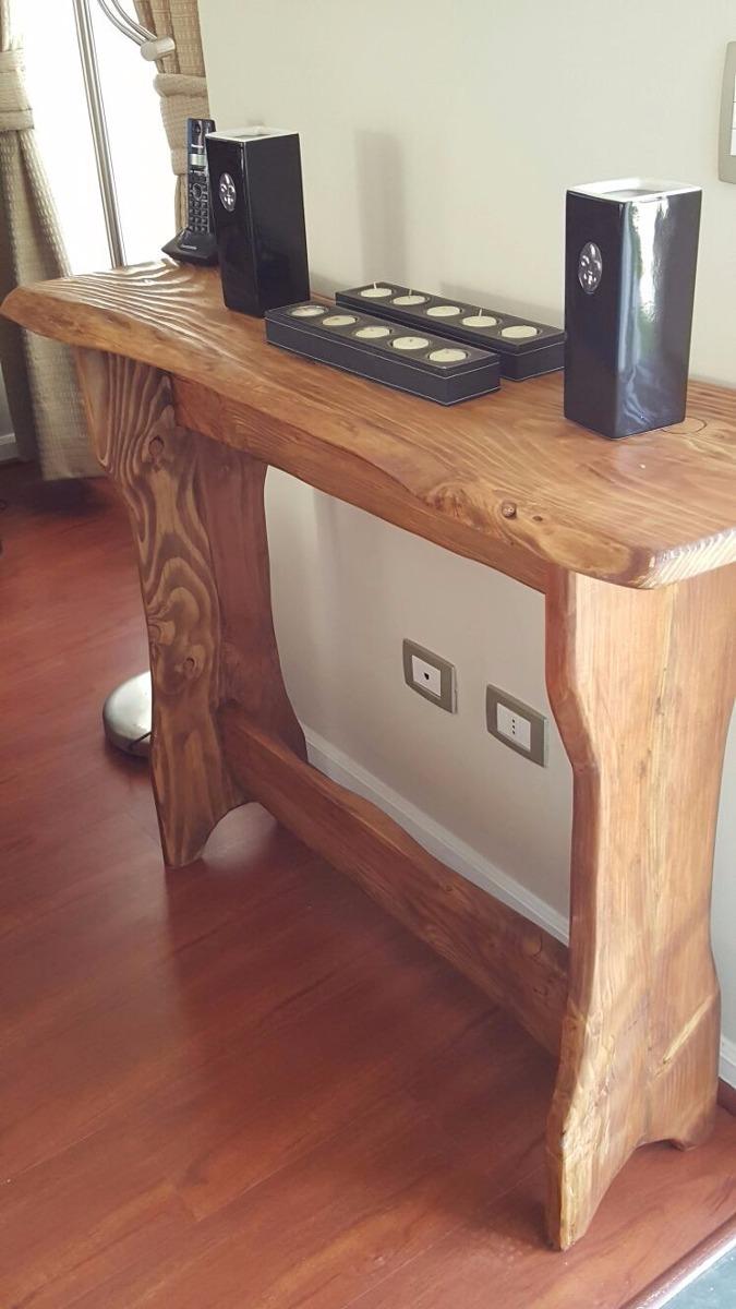 Mesa de arrimo rustica 100 artesanal madera natural for Mesas madera rustica