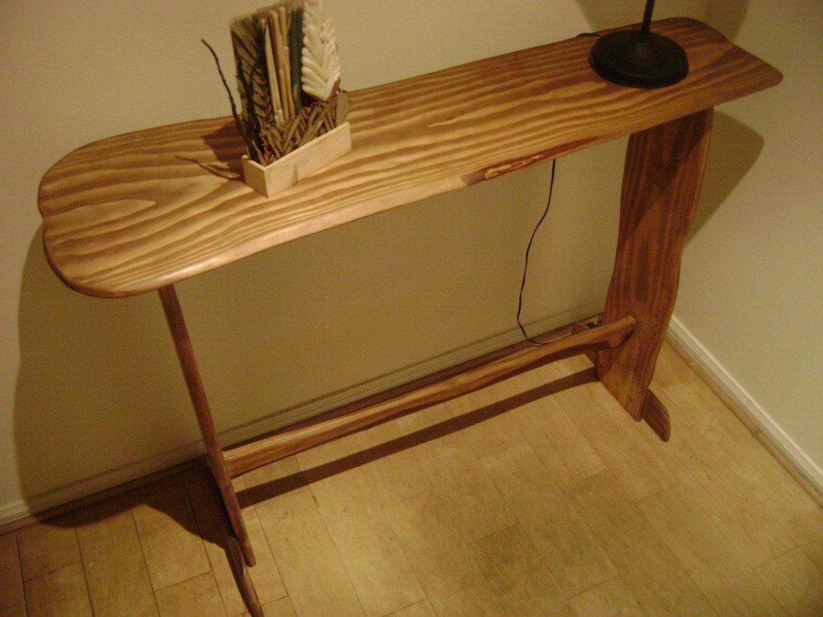 mesa de arrimo rustica artesanal madera natural