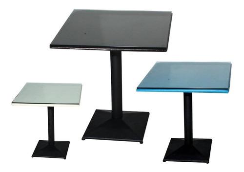 mesa de bar cuadrada con 1 solo pie muy fuerte vidrio grueso