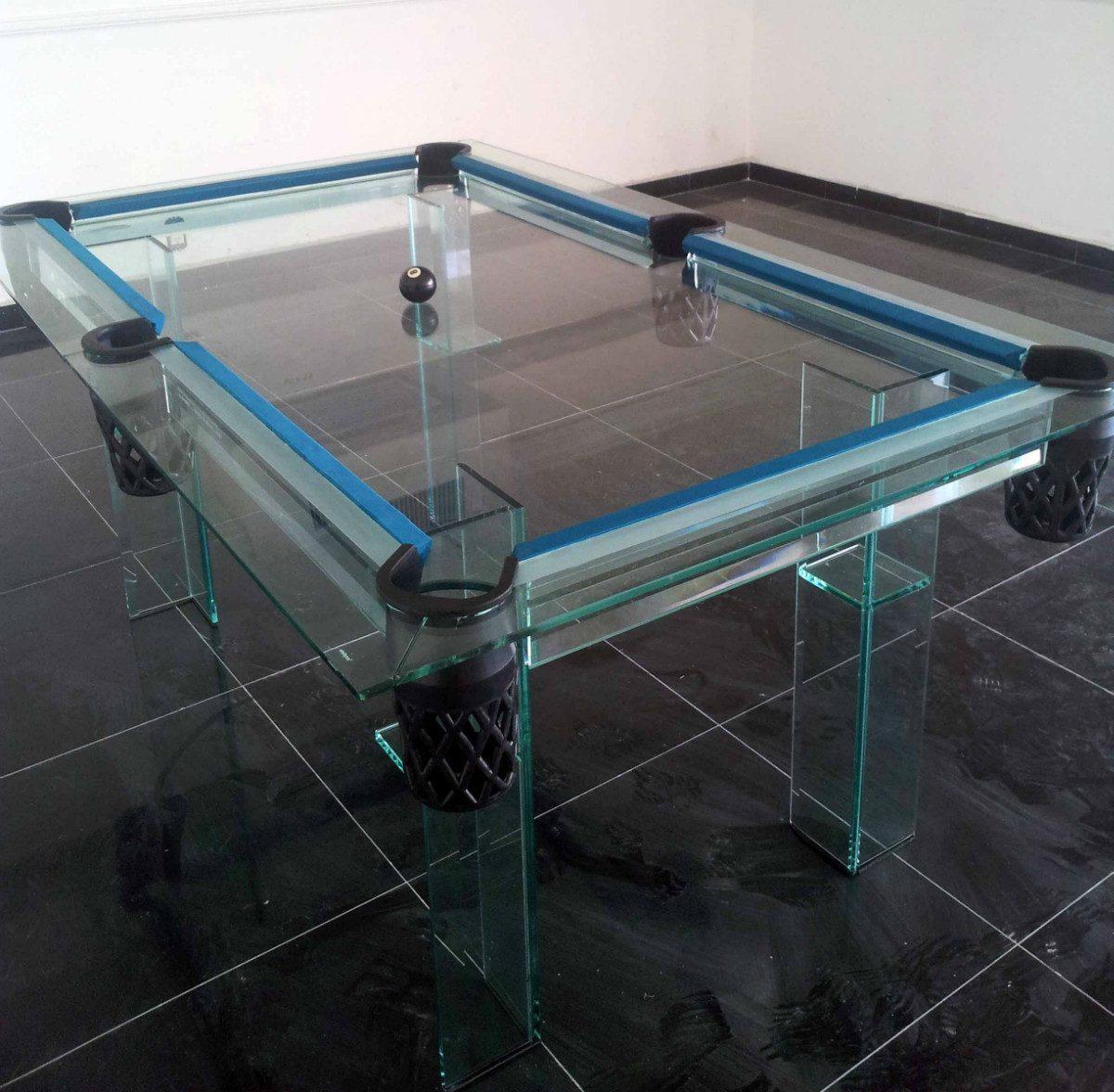 Mesa de billar en cristal en mercado libre for Mesas de billar de lujo