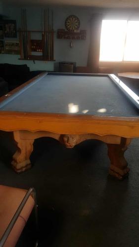 mesa de billar madera labrada cabeza de león y patas garra