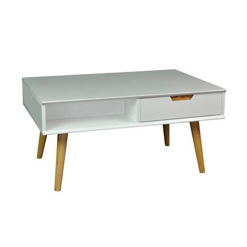 mesa de café baja con 1 cajón blanco y madera 90x48x60cm