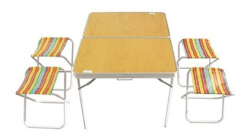 mesa de camping maletin facil de transportar - 4 asientos