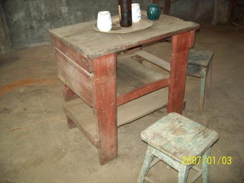 mesa de campo con 2 banquetas