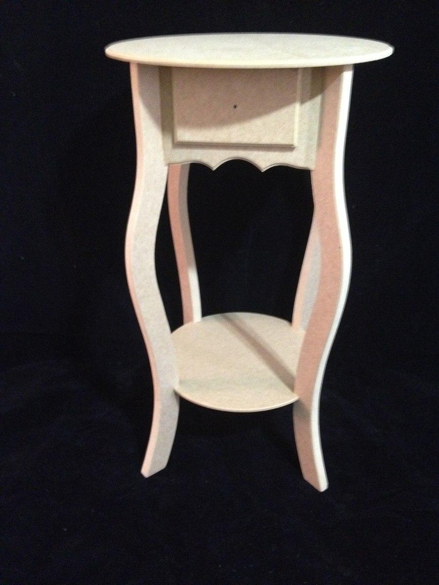 mesa de canto redonda com 1 gaveta em mdf madeira crua r. Black Bedroom Furniture Sets. Home Design Ideas