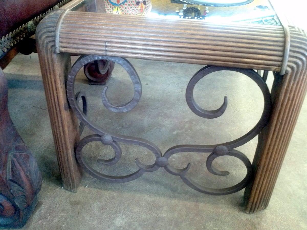 Mesa de cantro de madera y hierro forjado estilo antiguo 3 en mercado libre - Mesas madera y hierro ...