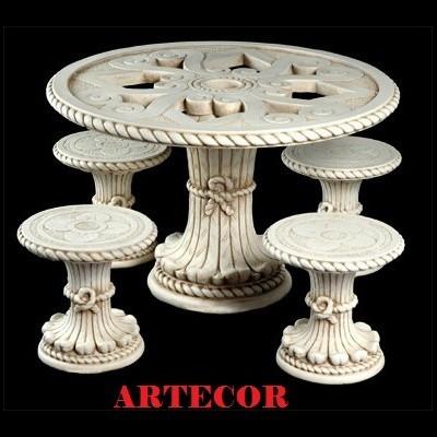 mesa de cemento p/ jardín, bancos jardin, parques, estatuas