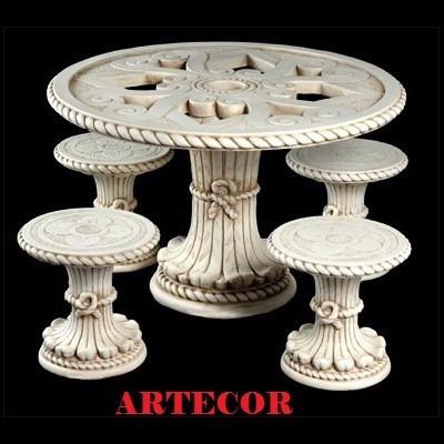 mesa de cemento para jardín, mesa de exterior, mesa parque