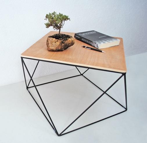 Mesa de centro acero madera mueble dise o moderno for Diseno de muebles de madera