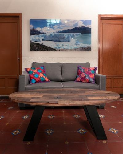 mesa de centro alto voltaje madera reciclada y forja