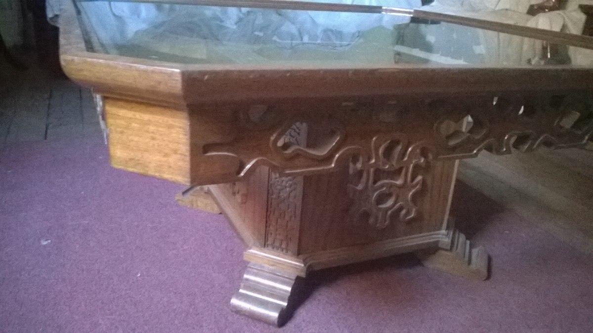Mesa de centro antigua madera eucaliptus labrada 150 - Mesas de centro antiguas ...