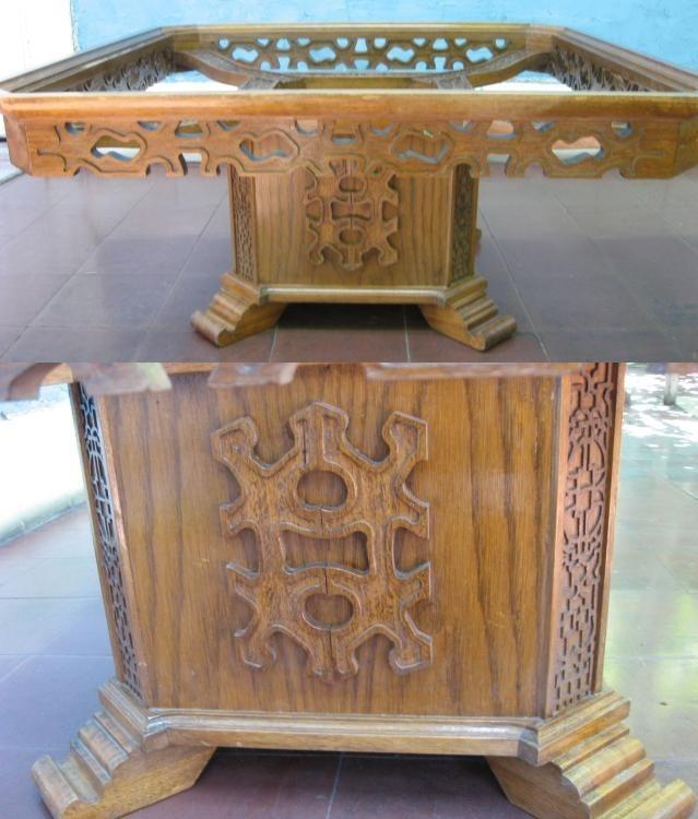 Mesa de centro antigua madera eucaliptus labrada 150 for Mesa madera antigua