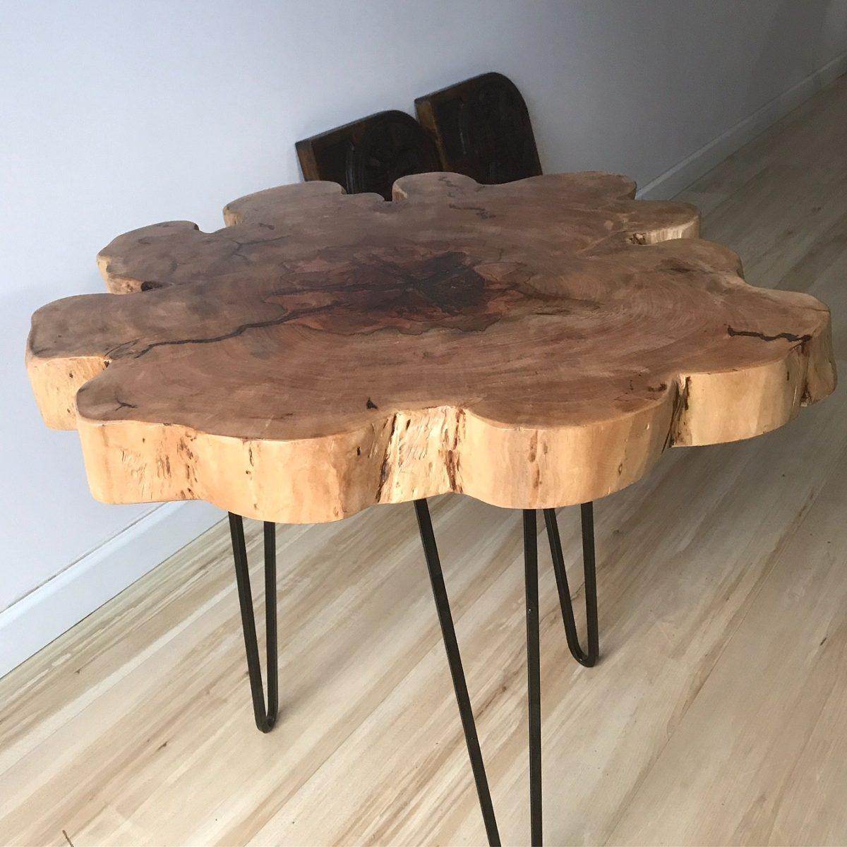 Mesa de centro apoio lateral r stica tronco madeira r - Mesa de tronco ...