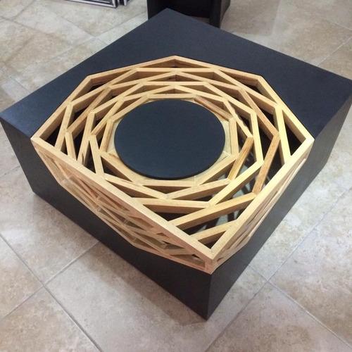 mesa de centro art deco pino