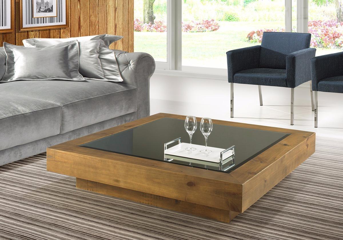 Mesa de centro baixa ville quadrada madeira tampo espelho for Sala de estar de madera