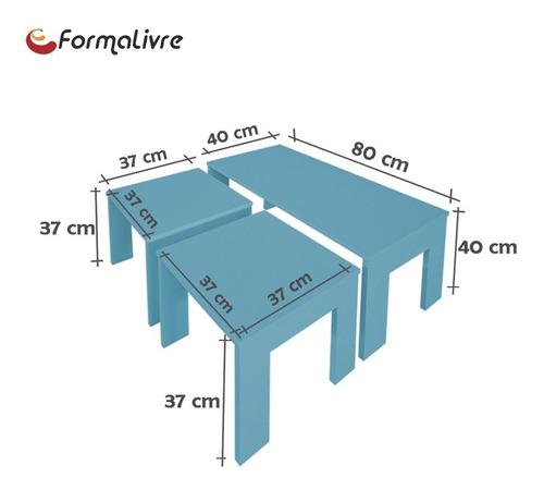 mesa de centro com 2 mesas de apoio sala estar azul laca