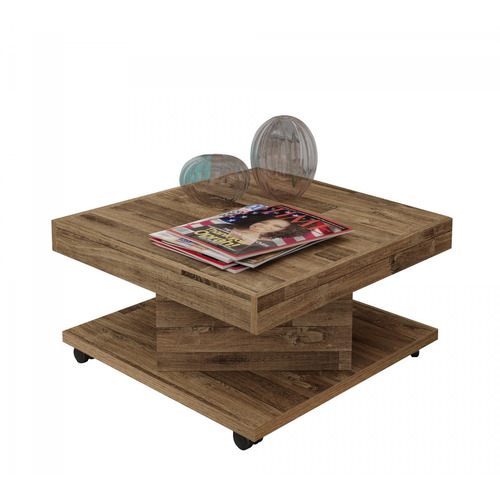 mesa de centro com rodízio saara artely rústico id