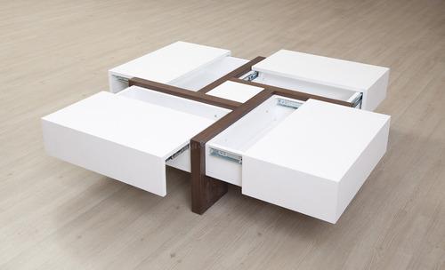 mesa de centro con cajones en madera lacada  ref: mobile 2,0