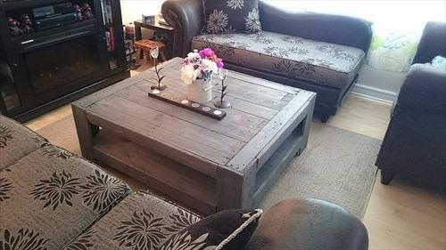 mesa de centro cuadrada de madera de pallet  color gris