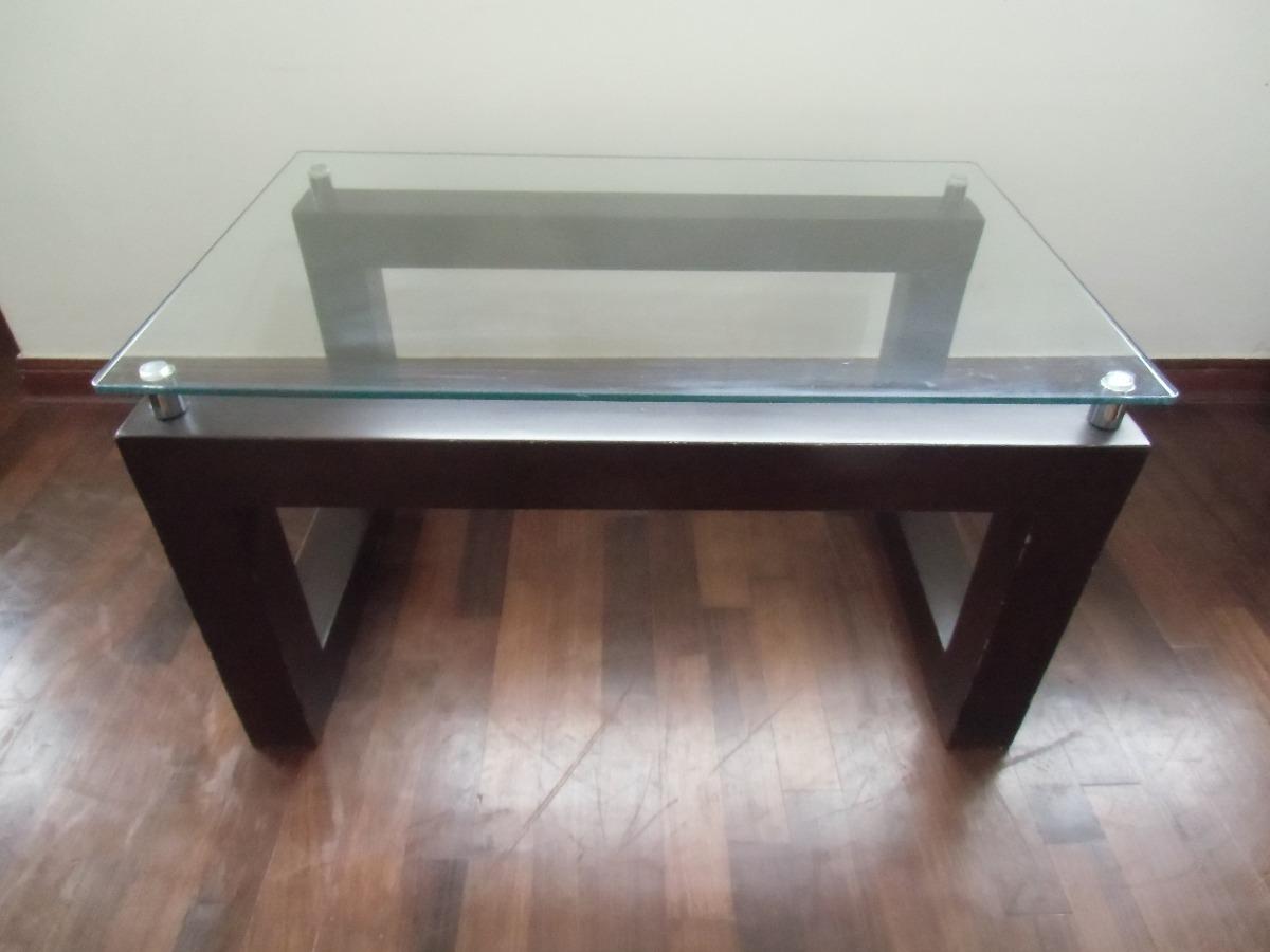 Mesa de centro de cedro pura madera con tablero de for Mesas de centro madera y cristal