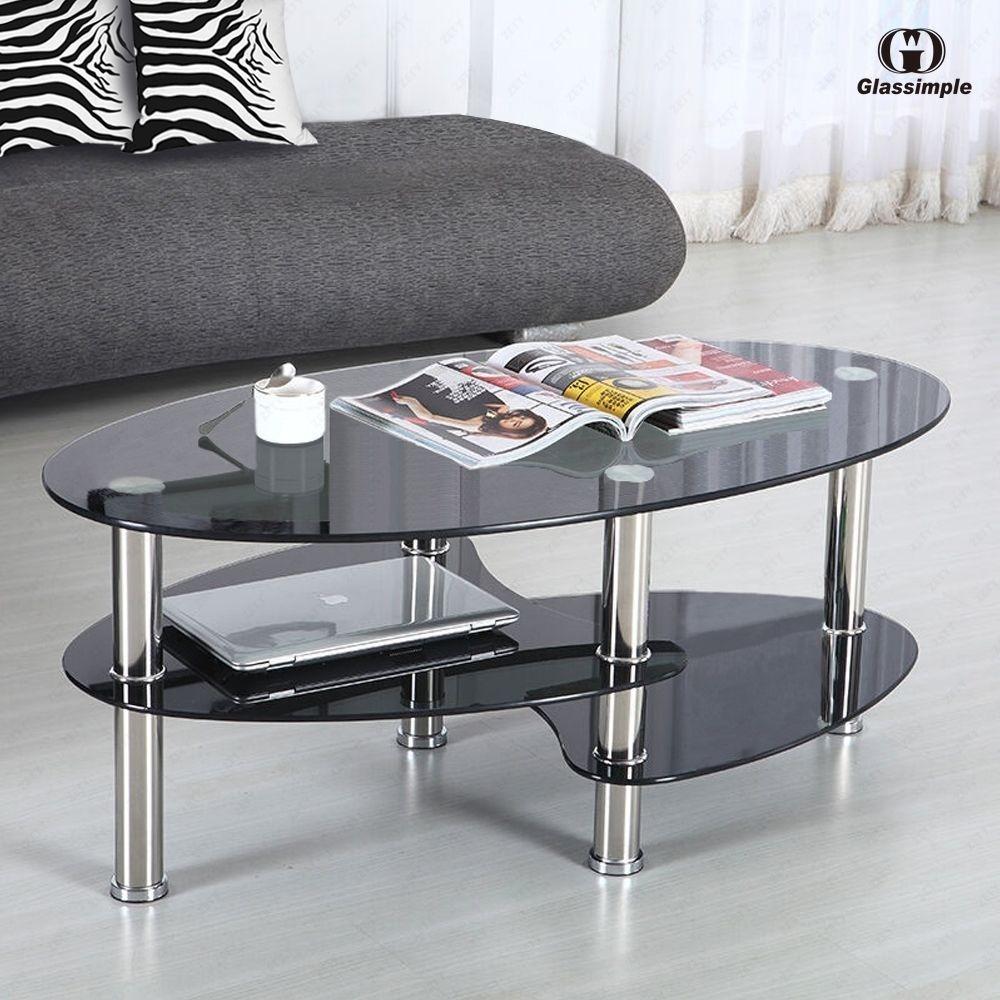 Mesa de centro de cristal negro para sala ovalada 3 - Mesas de centro de cristal ...