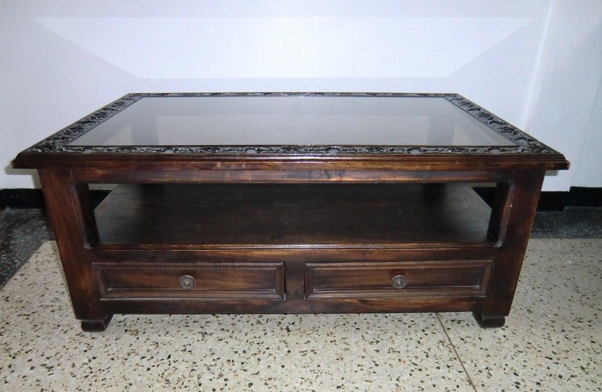 Mesa de centro de madera con vidrio bs en for Centros de mesa de madera