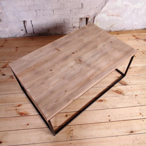 Mesa de centro de madera y metal 3 en mercado libre for Mesa industrial de madera y metal