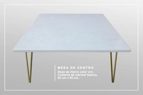 mesa de centro de mármol base hierro color oro