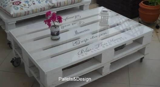 Mesa de centro de pallets pintada de branco r 260 00 em for Mesa de pallet