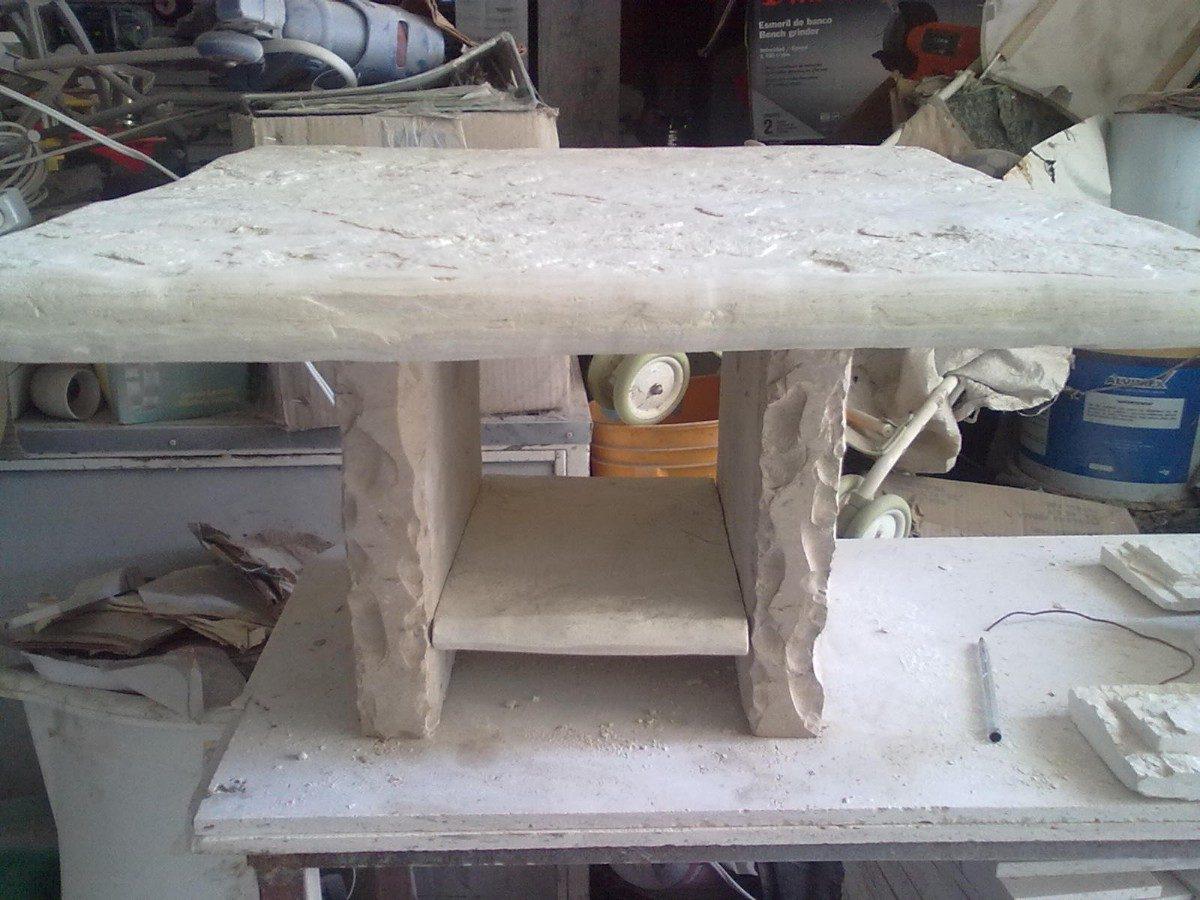 Mesa de centro de piedra laja blanca galarza 1 for Mesa de jardin de piedra