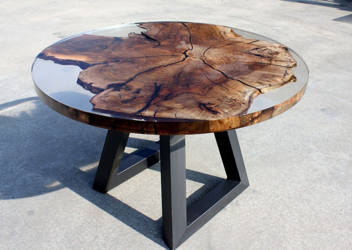 Mesa de centro de resina epoxica con encapsulado de tronco 4 en mercado libre - Tavoli in legno e resina ...