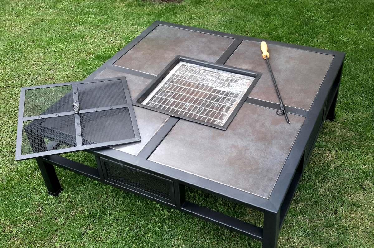mesa de centro de terraza con brasero en mercado libre. Black Bedroom Furniture Sets. Home Design Ideas