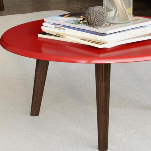 mesa de centro decorativo vermelho brilho - lymdecor
