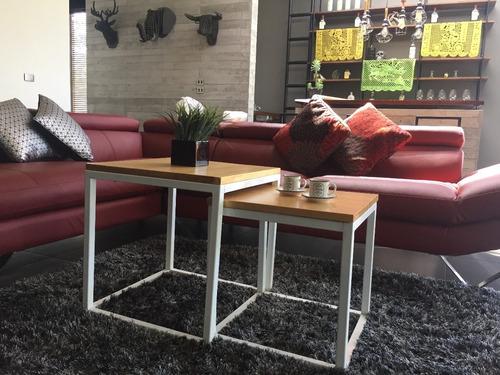 mesa de centro doble minimalista madera acero hefesto
