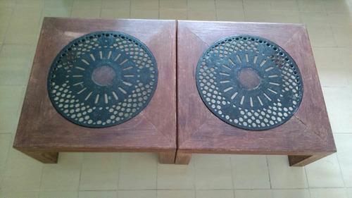 mesa de centro em madeira maciça e ferro - ótimo estado