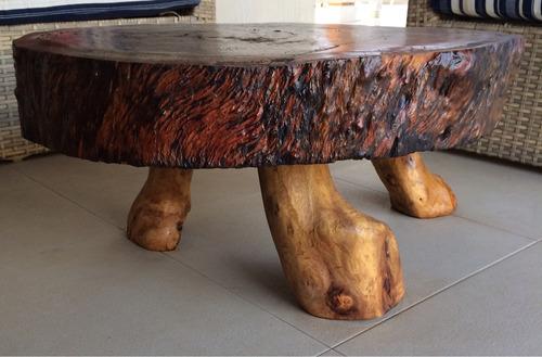 mesa de centro em madeira rustica