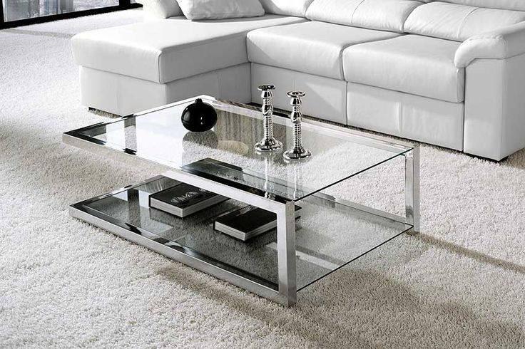 Mesa de centro en acero inoxidable s 900 00 en mercado for Mesas redondas de cristal y acero