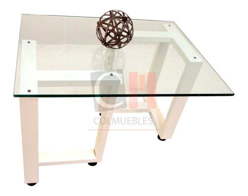 mesa de centro en caño y vidrio