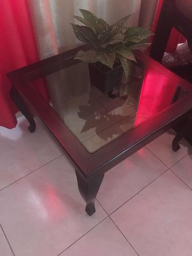 mesa de centro en caoba centenaria