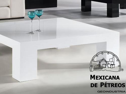 mesa de centro en cuarzo blanco supremo