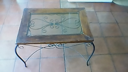 Mesa de centro en hierro forjado vidrio y madera bs en mercado libre - Mesa centro madera y hierro ...