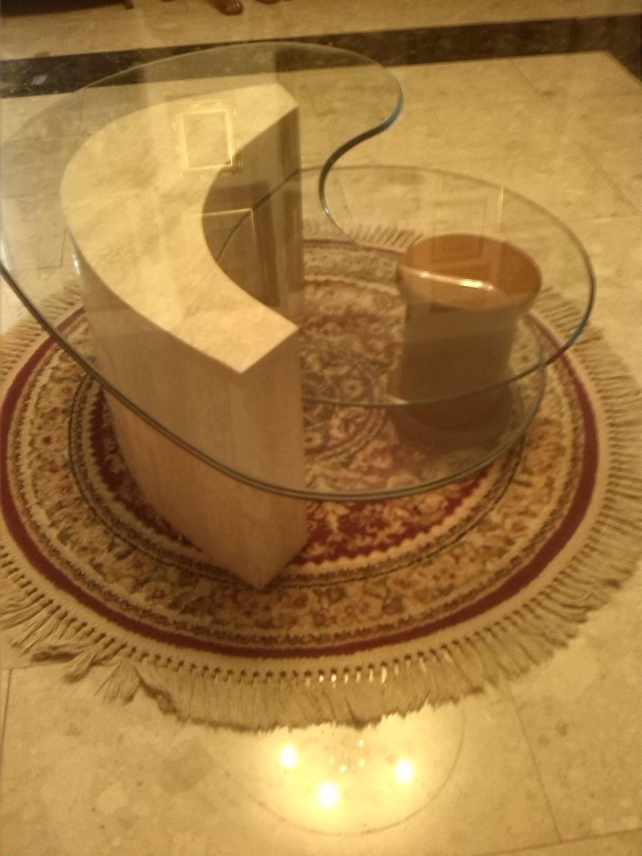 Mesa de centro en vidrio base de marmol y madera bs 10 - Mesas de marmol y cristal ...