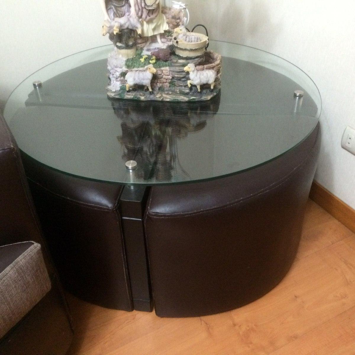 Mesa de centro en vidrio con madera mas 4 puff de 90 d - Mesa centro madera y cristal ...